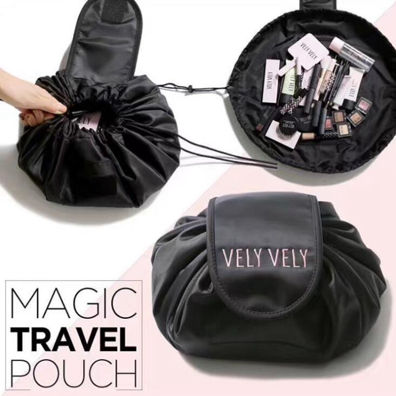 Women Drawstring Lazy Cosmetic Bag Fashion Travel Makeup Bag Organizer Make Up Case Storage Pouch Toiletry Beauty Kit Box Wash new arrive hot 2pc set portable jewelry box make up organizer travel makeup cosmetic organizer container suitcase cosmetic case