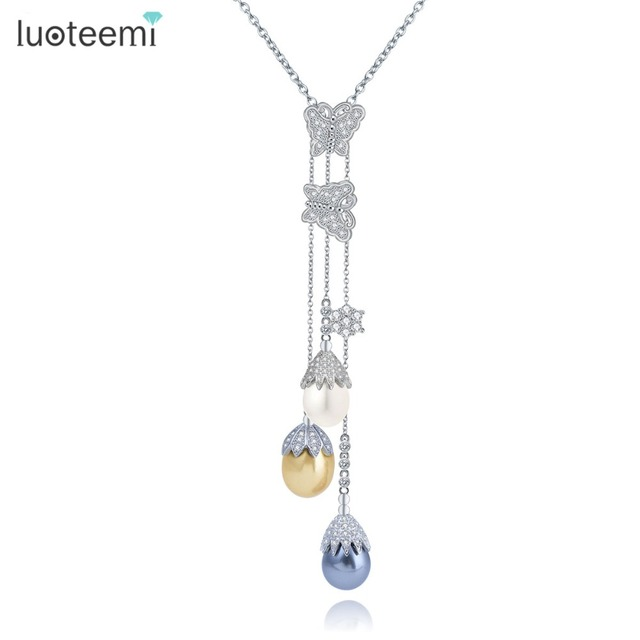 LUOTEEMI Fashion CZ Crystal Butterfly With Multicolor Imitated Waterdrop Pearl Drop Long Tassel Chain Necklace For Women
