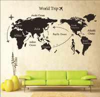 Di carta rimovibile per la decorazione della parete del vinile adesivi sul Muro per le camere dei bambini decalcomanie casa Sticker ragazze mappa del mondo autoadesivo AY9133