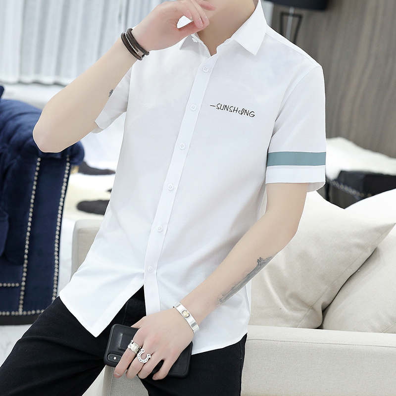 Summer Man Oxford Spinning Printing Short Sleeve Korean Self-cultivation Teenagers Shirt Tide Favourite Fashion Free shipping