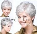 Короткие Вьющиеся платинового цвета/маленькие серые Парики Из Синтетических Волос (Бесплатная Доставка)