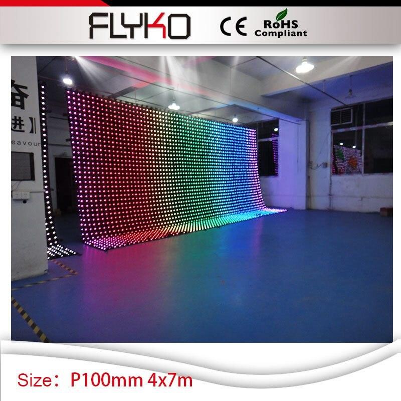 P10cm led display flexible indoor led video backdrop 4x7m