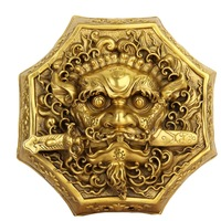 Chinese Old Chinese Folk FengShui Brass Lion Beast Head Sword Evil Spirits Door knocker decoration bronze factory outlets