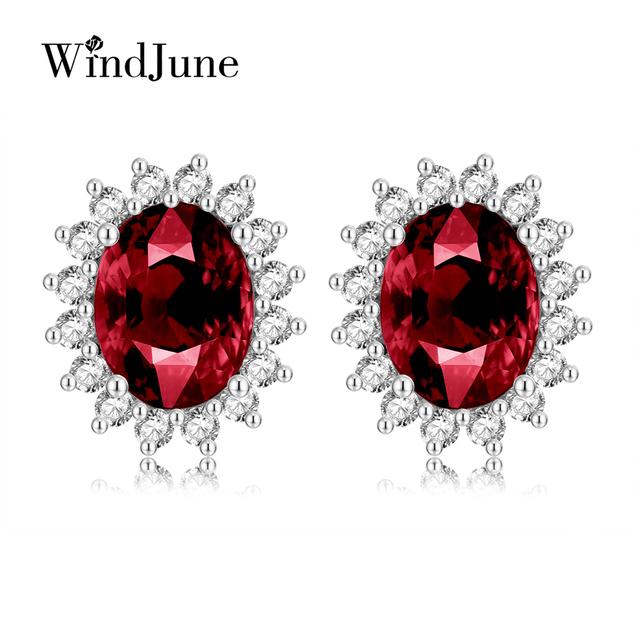 WindJune 2017 New Garnet gemstone stud earrings Authentic 100% 925 Sterling silver earrings Fine Jewelry For Women