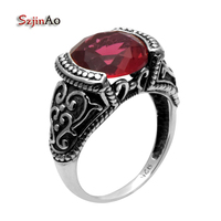 Szjinao 925 Sterling Silver Jewelry Red Ruby Wholesale Gold and Silver Details Antique Female Wedding Ring Wholesale