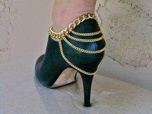 Tobillera cadena dorado, joyería de zapatos, pulsera de tobillo