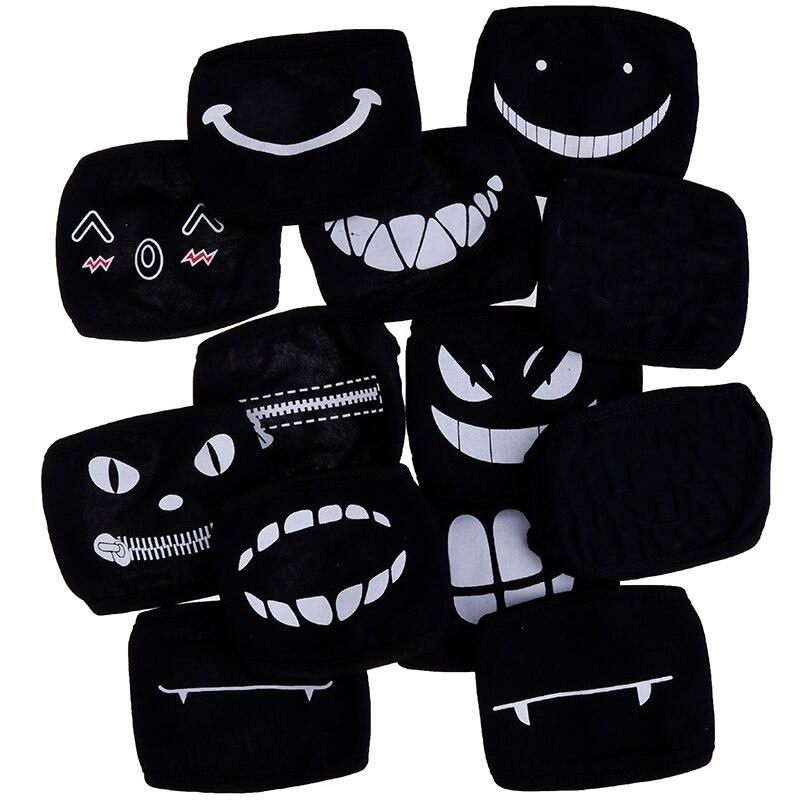 11style Black Anime Cartoon Kpop Lucky Bear Women Men Muffle Face Mouth Masks Kawaii Cotton Dustproof Mouth Face Mask