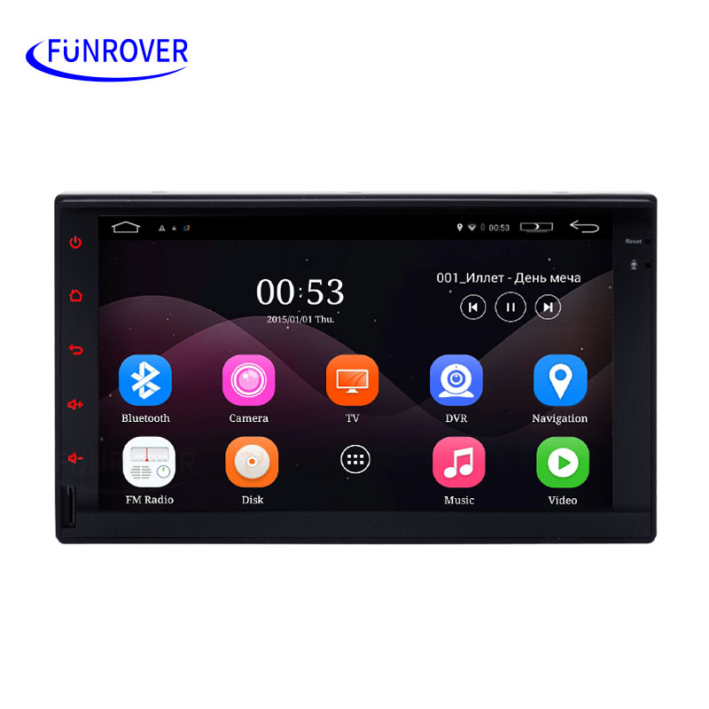 FREE SHIPPING 2 Din Android Universal Car DVD GPS car multimedia Player Quad Core 16GB double din GPS Navigation Radio Stereo FM