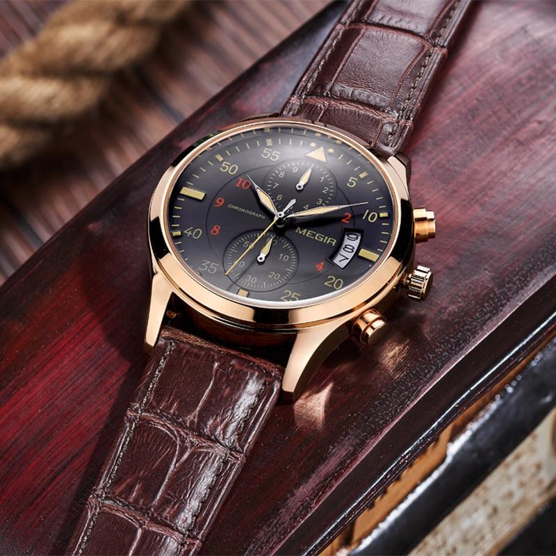 relogio masculino MEGIR Watch Men Military Quartz Watch Chronograph Mens Watches Top Brand Luxury Leather Sports Wristwatch 2016