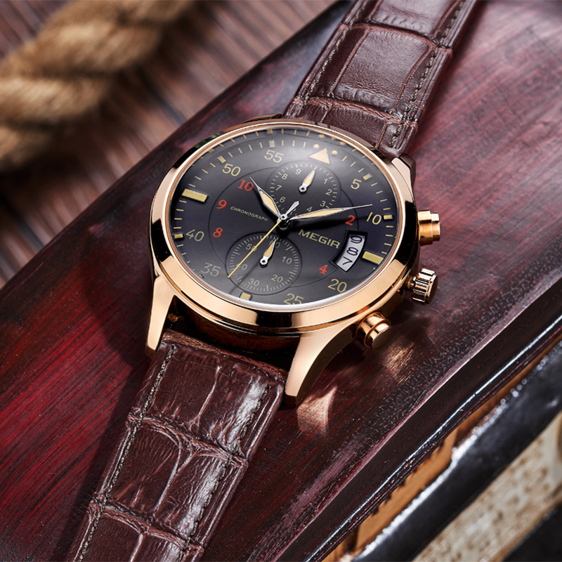 relogio masculino MEGIR Watch Men Military Quartz Watch Chronograph Mens Watches Top Brand Luxury Leather Sports Wristwatch 2016 oulm mens designer watches luxury watch male quartz watch 3 small dials leather strap wristwatch relogio masculino