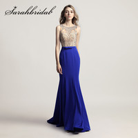 Royal Blue Mermaid Evening Dresses Sliver Crystals Beading Long Burgundy Prom Party Gowns with Bow Sheer Neck Formal Wear LX414