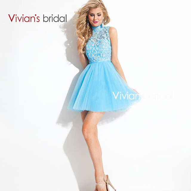 Vivian's Bridal Sexy Backless Mini Ball Gown High Neck Lace Appliques Cocktail Dresses Hot Sale 2015 robe de cocktail CD04