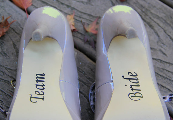 Wedding Accessories, Team Bride Shoe Sticker - Bridesmaid Gift Idea - Vinyl Wedding Party Shoe Decals,free shipping Min order $5
