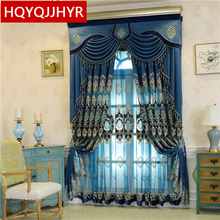 European classic embroidered villa curtains for living room Hotel windows high quality blue bedroom hotel kitchen