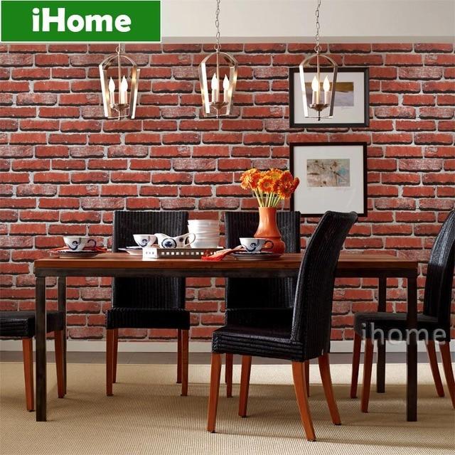 Buy Personalized 3d Retro Red Blocks Pattern Paper Based Pvc Wallpaper Bricks