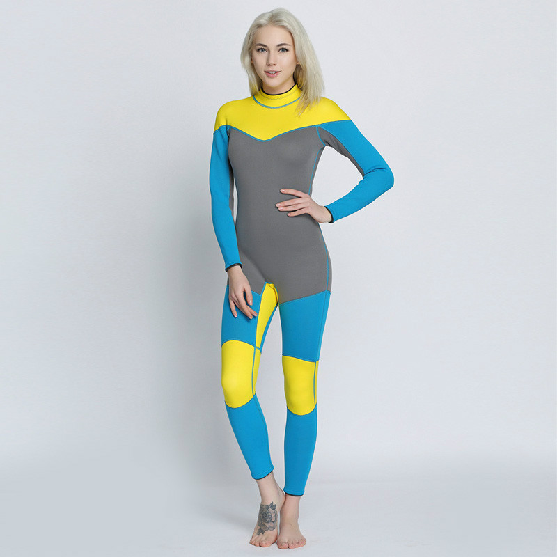 Women's Wetsuit 3MM Neoprene SCR Superelastic Long-sleeved Siamese Diving Suit Waterproof Warm Surfing suit Size S-XL fashion long sleeves surfing suit black grey size xl page 2