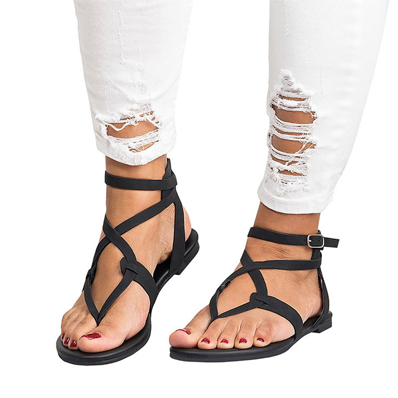 Women Sandals Ankle Strap Summer Shoes For Women Soft Beach Shoes Femela Flat Sandals Gladiator New 2018 Sandalias Mujer 42 43 instantarts women flats emoji face smile pattern summer air mesh beach flat shoes for youth girls mujer casual light sneakers