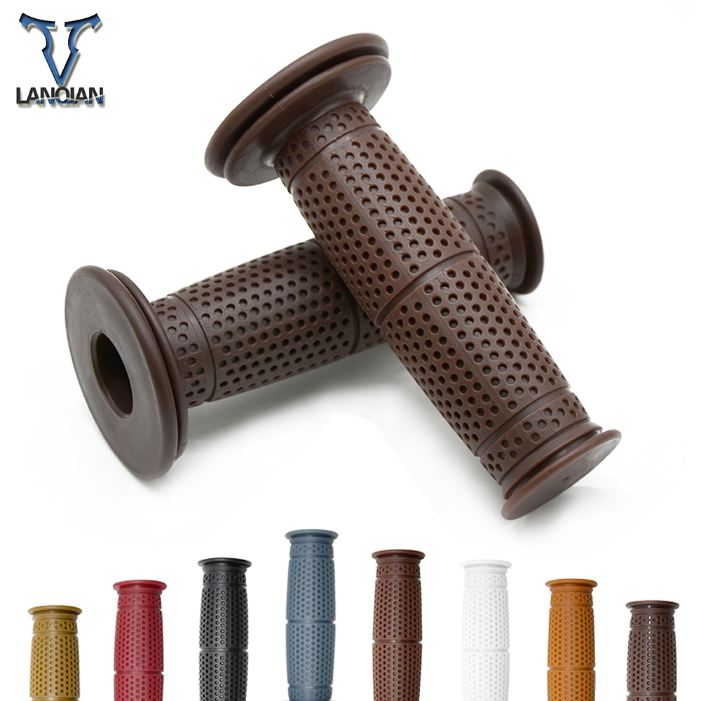 7/8''22MM Motorcycle Handlebar Grips Retro Hand Bar For TRIUMRH 675 CALLE STREET TRIPLE R RX AMERICA LT BONNEVILLE SE T100 Black-in Grips from Automobiles & Motorcycles