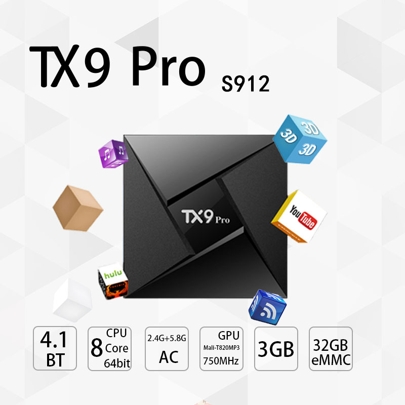 Tanix TX9 Pro Android 7.1 TV Box Amlogic S912 Octa-core CPU Set-top Box TV 3 gb 32g BT 4.1 1000 m LAN Smart TV Boîte PK X92
