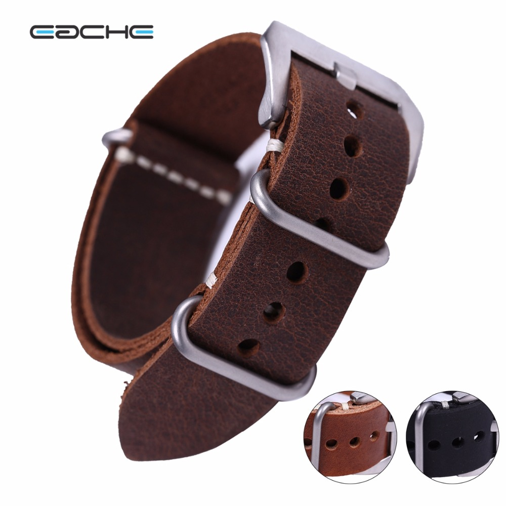 EACHE High Quality Vintage Genuine Leather NATO Watch Straps Watchband for Military Watch  20mm 22mm 24mm Brush Buckle croco pattern genuine casfskin 19mm 20mm 22mm replacement watchband watch straps for brand watch