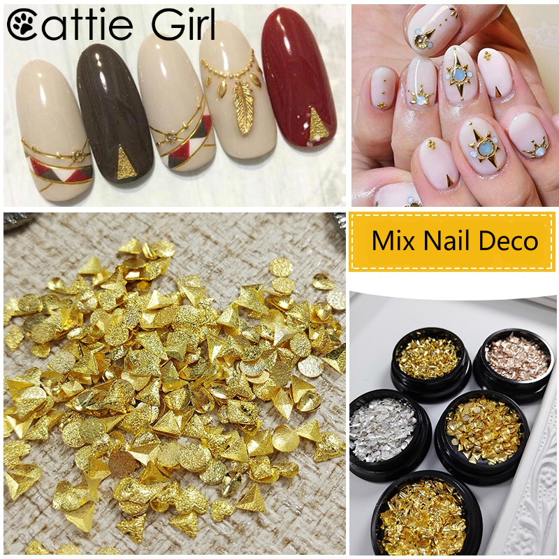 1 Box Mixed Metal Matte Rose Gold Nail Accessories Feather Geometric Japanese Nail Art Studs Gold Silver 3D Nail Art Decorations