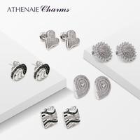 ATHENAIE 925 Sterling Silver Elegant Vintage Earrings 5 Pairs Of Stud Earrings for Women Fashion Jewelry
