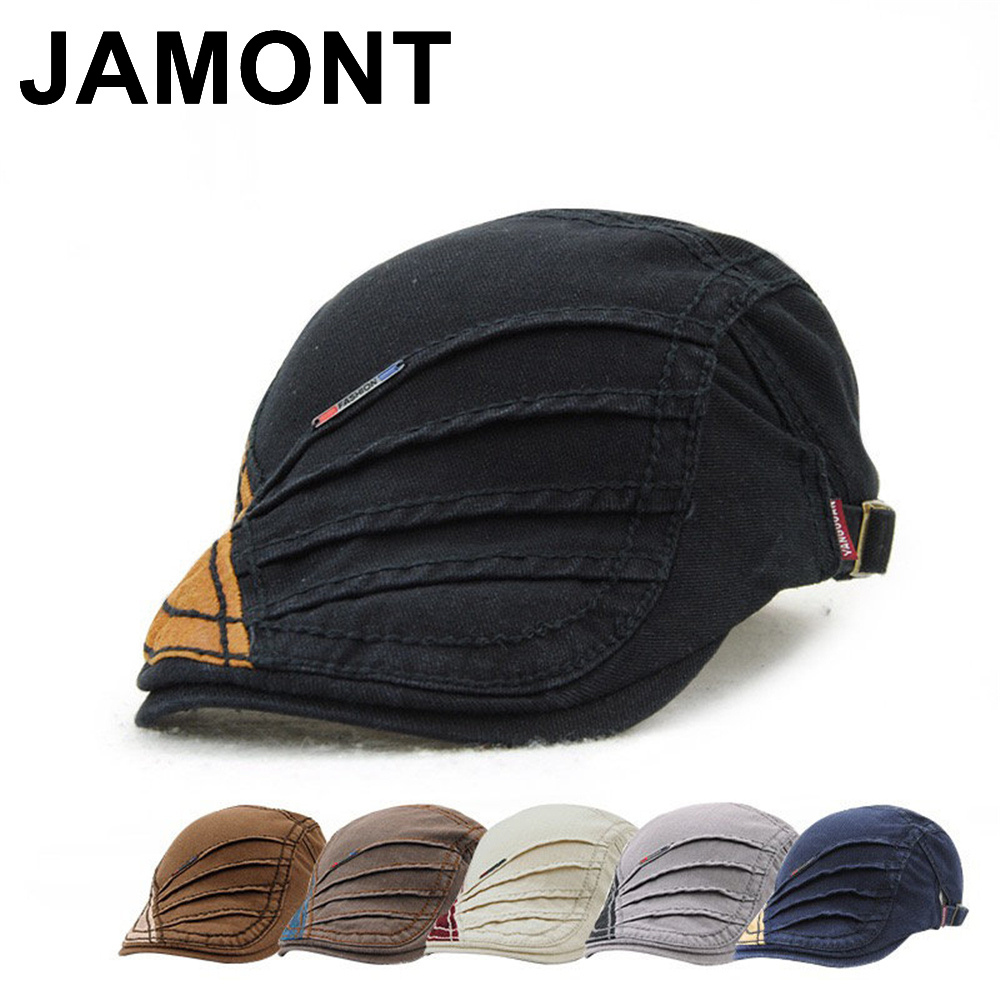 Jamont Men Women Vinage Cotton Newsboy Beret Caps Duckbill Visor Flat Golf Ivy Cap Spring Summer Casual Baker Boy Peaked Hats