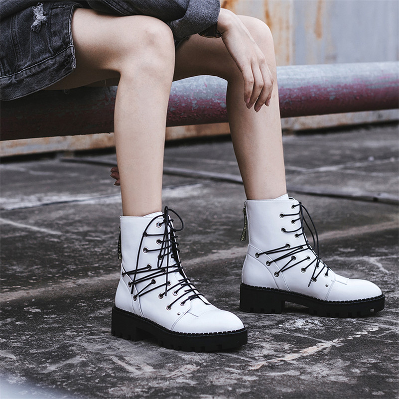 Punk Motorcycle White 1 Black Rock Ankle Rivets Platforms 3 Martin High Heel 2 Chunky Shoes Fedonas 5gXqwtt