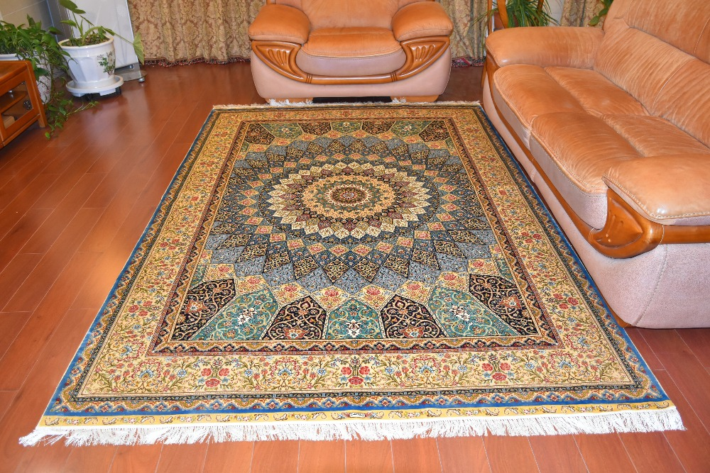 6'x9 'grande taille tapis de soie fait main tournesol classique persan tapis noués à la main