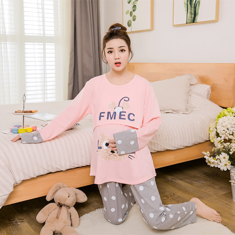 New 2017 Spring and autumn large pregnant women pajamas home nursing wear big size maternity nursing pajamas home wear suit