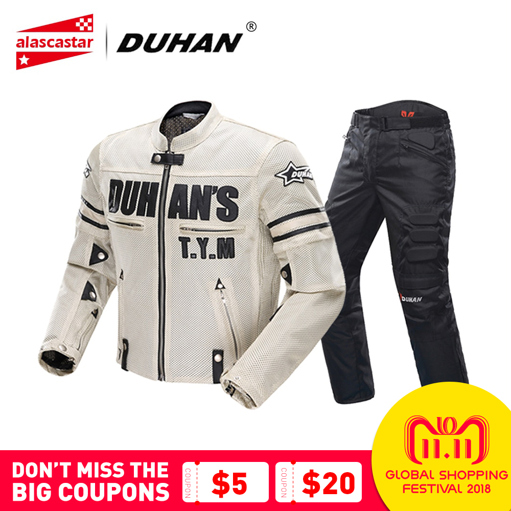 DUHAN Motorcycle Jacket Men's Breathable Mesh Racing Summer Moto Jacket Riding Motorcycle Clothing With Removable Protector цена