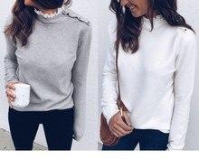 2019 autumn women s Large size sweater lace half neck shoulder button design long sleeved