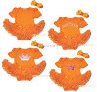 Kraliçe Günü Rhinestone Bling Dot Pembe Taç Turuncu Babysuit Bebek Kız Elbise Yay Bandı Aksesuarı Set NB-MAJSA0524