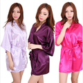 Women Silk Satin Short Robe Kimono Robe Fashion Bathrobe Sexy Bath Robe Femme Wedding Bride Bridesmaid Robe Nightwear Plus Size