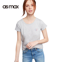 asmax 2017 Preppy Style Women T-Shirt O-Neck Heart-shaped Embroidery Chic Pullover Tops Tee Casual Brief Sweet Summer T-shirts
