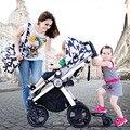 Moda 3 em 1 Carrinho De Bebê, multifunções, suspensão, Highview Dobrável Quatro Rodas Carrinho de Bebé 2 em 1 Carrinho De Criança, 4 em 1 Carrinho De Bebê