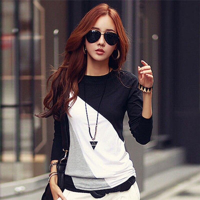 Women T-shirt Long Sleeve Clothes Ropa Tee Shirt Femme Poleras Camisetas Mujer Black/Brown Ladies Casual T Shirt
