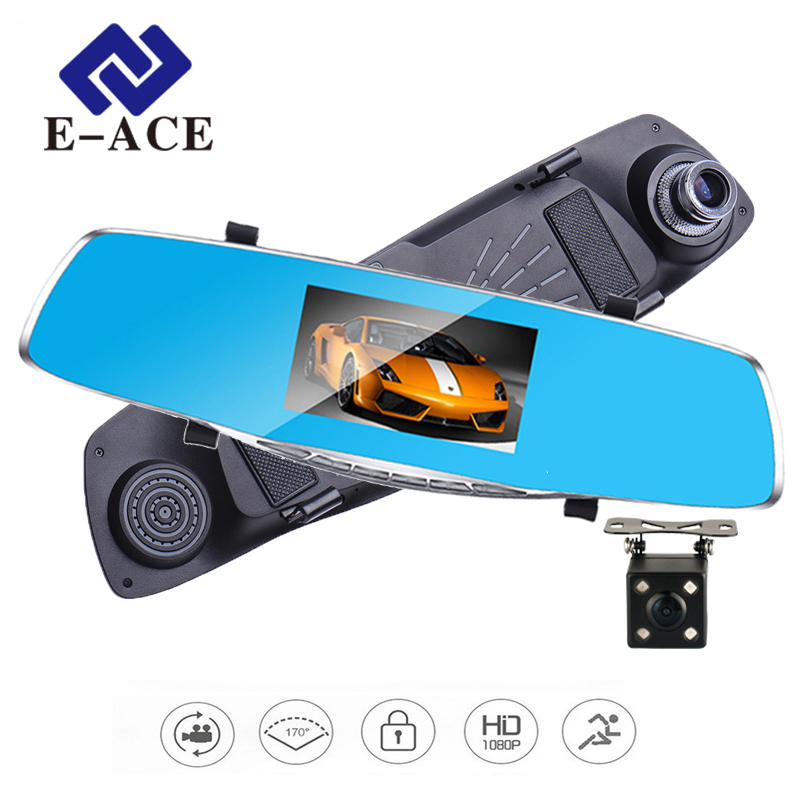 E-ACE Car Dvr Camera Rearview Mirror Auto Dvrs Dual Lens Video Recorder Dash Cam Registrator Camcorder Full HD 1080P Two Cameras 5 inch car camera dvr dual lens rearview mirror video recorder fhd 1080p automobile dvr mirror dash cam