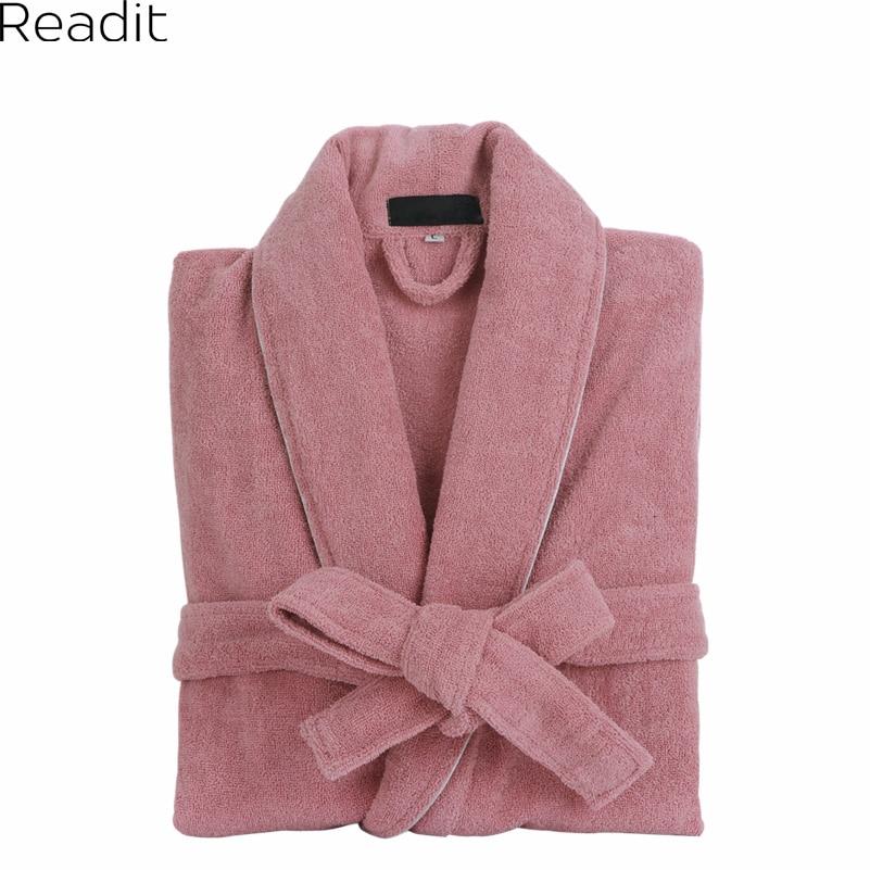 Men Women 100 Cotton Terry Bathrobe Lovers Solid Towel Sleepwear Long Bath Robe Kimono Femme Dressing