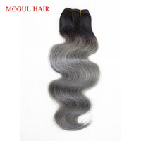 MOGUL HAIR One Piece Only T 1B Dark Grey Body Wave Hair Extensions Ombre Brazilian Remy Human Hair Weave Bundles 10 18 inch