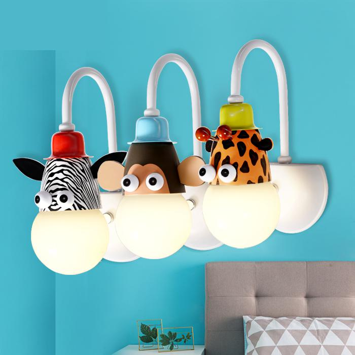 A Children's Wall Creative Cartoon Children Room Lamps Led Boy Girl Room Bedroom Lamp Single Head Lamp wall light single boy