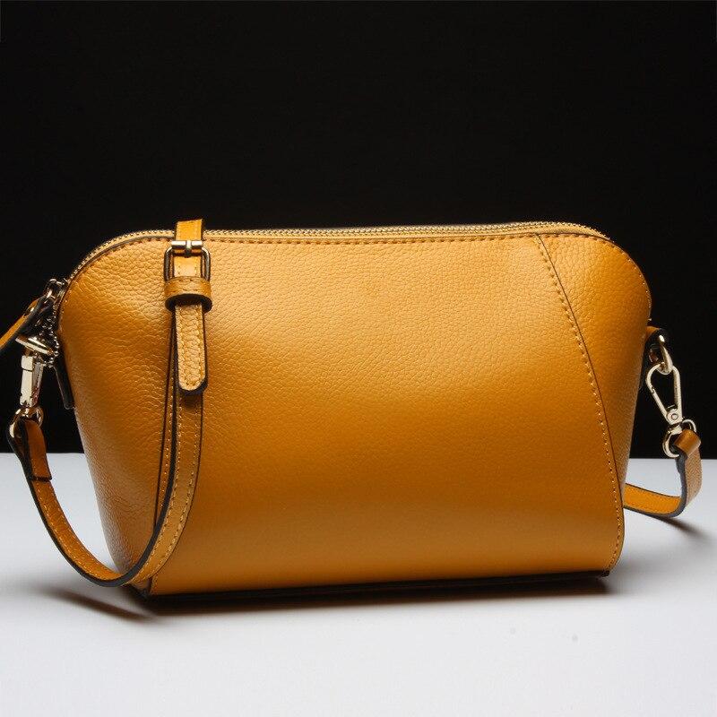 luxury designer genuine leather shoulder bag Shell Shape genuine leather women crossbody bag Fashion Tote bag Bolsas Feminina genuine leather