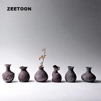 Zen Japanese Style Floral Art Vintage Coarse Pottery Vase Rusty Glaze Jardiniere Pot Tabletop Flowers Jar Creative Home Decor