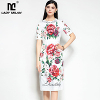 New Arrival 2018 O Neck Short Sleeves Floral Printed Crystal Buttons Fashion Designer Casual Dresses