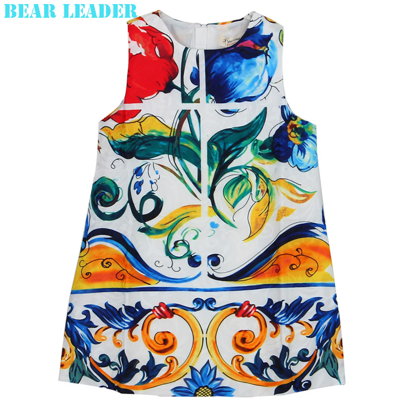 Подробнее о Bear Leader Girls Dress 2016 Brand Princess Dresses Girls Clothes Sleeveless Flowers Pattern Print Design for Children Clothing bear leader girl dresses 2016 brand girls costumes princess dress kids clothes sleeveless bow plaid pattern girls dress children