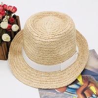 Womens Summer Handmade Weave Raffia Straw Hats Casual Paname Beach Hat White Bow Straw Fedoras Hats For Women Raffia Hat