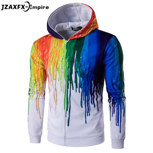 moleton masculino Men Printing Colorful Design Hoodies Autumn Wear Long Sleeve With hood Male Splash paint Pattern Sweatshirt