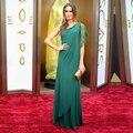 Descuento grande Personalizada de Un Hombro Gasa Verde Diosa Griega de la Playa Vestido de Noche de La Celebridad Vestidos de Fiesta de Noche Vestidos de Baile
