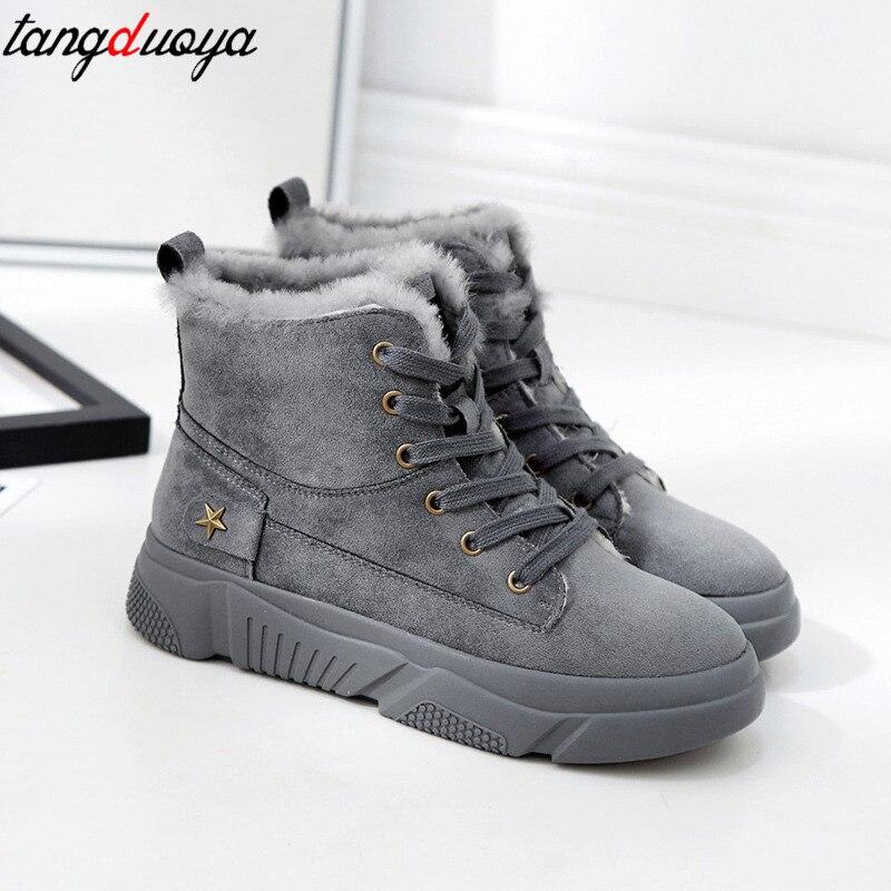 Chaude black Sneakers De Bottes Beige Femmes Plates Cheville Neige Chaussures gray Botas Hiver D'hiver Casual Femelle UqR8C4w