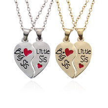 2 PCS/Set Best Sisters Pendant Necklaces Big Little Sister Silver Borken Heart Necklace Best Friends Forever Bff For Girls Women(China)